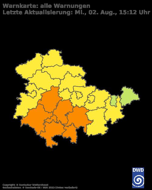 Aktuelle Wetterwarnungen für Erfurt