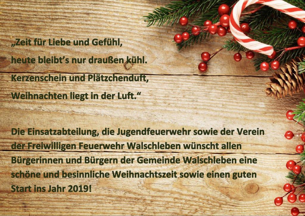 Die Einsatzabteilung und der Verein der Freiwilligen Feurwehr Walschleben wünscht eine besinnliche Weihnachtszeit und einen guten Start in das Jahr 2019!