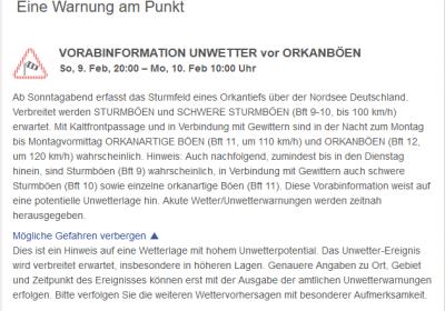 Vorabinformation des Deutschen Wetterdienstes Februar 2020